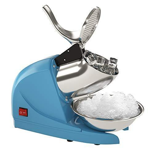 OKF Ice Shaver Electric Three Blades Snow Cone Maker Stainless Steel Shaved Ice Machine 220lbs/hr Home and Commercial Ice Crushers (Blue) - PHUNUZ