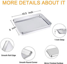 Load image into Gallery viewer, TeamFar Stainless Steel Compact Toaster Oven Pan Tray Ovenware Professional, 8''x10''x1'', Heavy Duty & Healthy, Deep Edge, Superior Mirror Finish, Dishwasher Safe