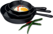Load image into Gallery viewer, Utopia Kitchen Pre-Seasoned Cast Iron Skillet Set 3-Piece - 6 Inch, 8 Inch and 10 Inch