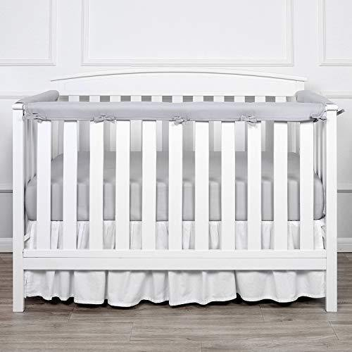 TILLYOU 3-Piece Padded Baby Crib Rail Cover Protector Set from Chewing, Safe Teething Guard Wrap for Standard Cribs, 100% Silky Soft Microfiber Polyester, Fits Side and Front Rails, Pale Gray - PHUNUZ