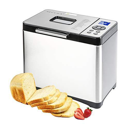 Secura Bread Maker Machine 2.2lb Stainless Steel Toaster Makers 650W Multi-Use Programmable 19 Menu Settings for Home Bakery (Silver) - PHUNUZ