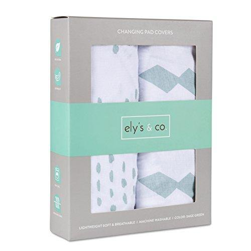 Changing Pad Cover Set I Cradle Sheet Set - 2 Pack 100% Jersey Cotton Unisex Sheets for Baby Girl and Baby Boy - Sage Green Diamond Design by Ely's & Co. - PHUNUZ