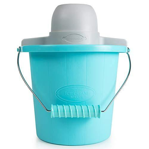 Nostalgia Electric Ice Cream Maker With Easy-Carry Handle Makes 4-Quarts In Minutes, Frozen Yogurt, Gelato – Blue - PHUNUZ