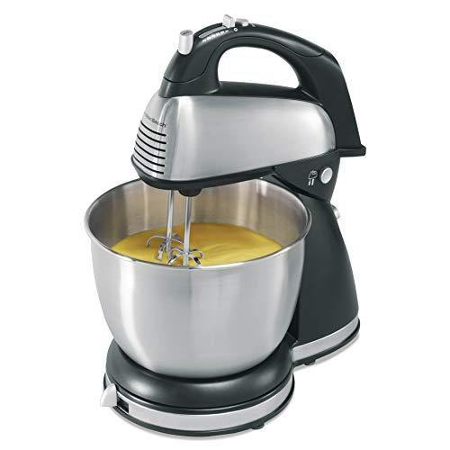 Hamilton Beach Classic Hand and Stand Mixer, 4 Quarts, 6 Speeds with QuickBurst, 290 Watts, Bowl Rest, Black and Stainless (64651), New - PHUNUZ