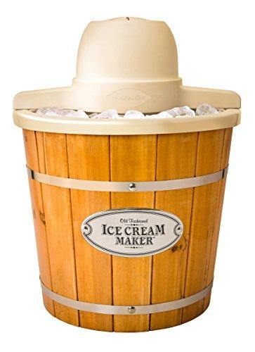 Nostalgia ICMP400WD Electric Wood Bucket Ice Cream Maker, 4-Quart - PHUNUZ
