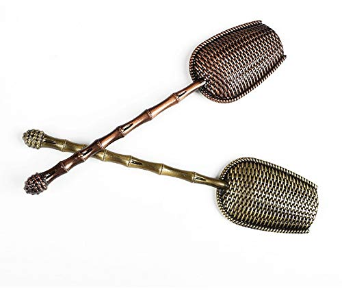 Cha Yuen – Metal long handle tea scoops/tea shovel for loose leaf tea, Set of 2 ancient red and ancient Cyan