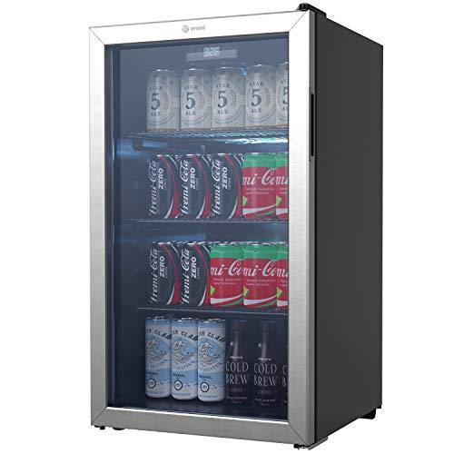 Vremi Beverage Refrigerator and Cooler - 110 to 130 Can Mini Fridge with Glass Door for Soda Beer or Wine - Small Drink Dispenser Machine for Office or Bar with Removable Shelves and Adjustable Feet - PHUNUZ
