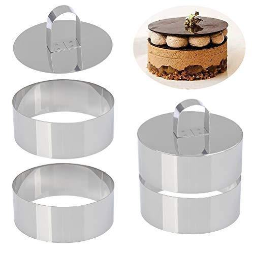 Set of 4 - Round Stainless Steel Small Cake Rings, Mousse and Pastry Mini Baking Ring Mold, Food Rings Cake Rings Dessert Rings Set Including 4 Rings & 2 Food Presses (Round) - PHUNUZ