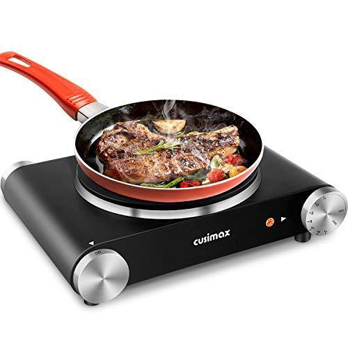 Cusimax Hot Plate, Portable Electric Stove Countertop 1500W Single Burner with Adjustable Temperature Control & Non-Slip Rubber Feet, 7.4 Inch Cooktop for Dorm Office Home Camp, Compatible for All Cookwares - PHUNUZ