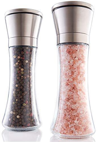Gorgeous Salt And Pepper Grinder Set - Refillable Stainless Steel Shakers With Adjustable Coarse Mills - Enjoy Your Favorite Spices, Fresh Ground Pepper, Himalayan Or Sea Salts - PHUNUZ