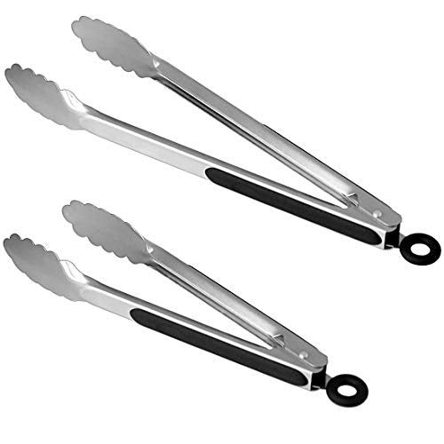 Lyxa SR Set of 9-inch and 12-inch Stainless Steel Kitchen Tongs with Locking, Metal Cooking Tongs with Non-Slip Grip,Perfect for Grilling, Barbecue (BBQ) and More (9