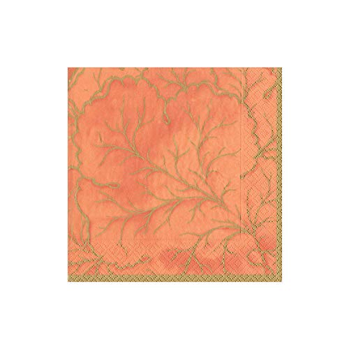 Caspari Gilded Majolica Paper Cocktail Napkins in Orange, Two Packs of 20