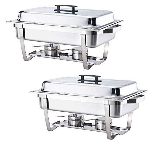 ALPHA LIVING 2 Pack 8QT Chafing Dish High Grade Stainless Steel Chafer Complete Set, One Pack, white - PHUNUZ
