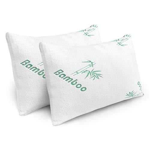 Pillows for Sleeping - 2 Pack Cooling Shredded Memory Foam Bed Pillows with Bamboo Hypoallergenic Covers (Queen Size) - PHUNUZ