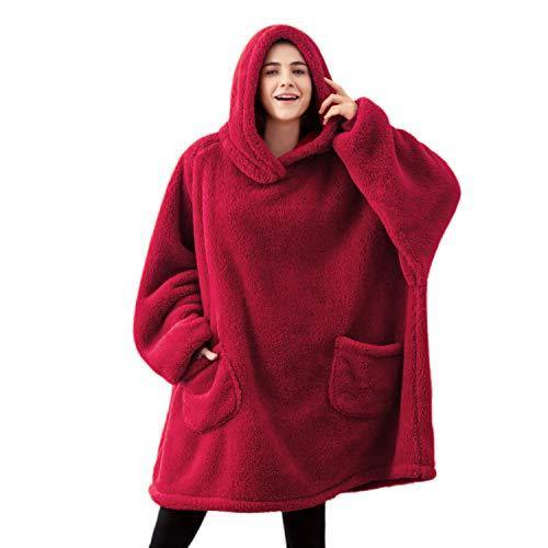 Bedsure Wearable Blanket, Standard Velveteen Blanket Hoodie, Blanket Sweatshirt with Deep Pockets and Sleeves for Adults Kids Teen, Black/Red - PHUNUZ