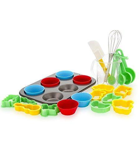 Boxiki Kitchen 24-Piece Kids Baking Set Muffin Pan, 6 Silicone Cupcake Liners, 10 Cookie Cutters, Spatula, Egg Whisk, Mini Measuring Cup and 4 Measuring Spoons - PHUNUZ