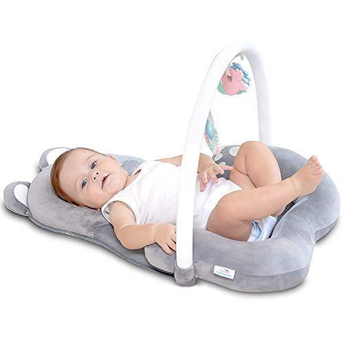 3-In-1Baby Head Support Pillow Lounger, Portable Baby Bed, Infant Snuggle Nest Sleeper, Tummy Time Mat 0-6 Mos, Arch Rattle & Teething Toy, Bag - Safety Certified, Soft, Baby Essentials for Newborn - PHUNUZ
