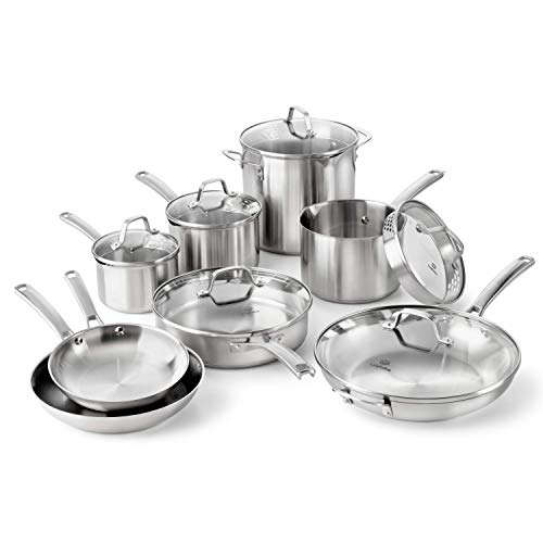 Calphalon Classic Stainless Steel Pots and Pans Set, 14-Piece, Silver