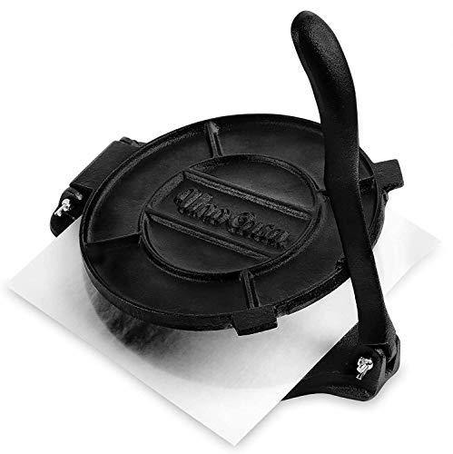 Uno Casa Cast Iron 10 Inch Tortilla Press - Roti and Tortilla Maker - Bonus 100 Pcs Parchment Paper - PHUNUZ