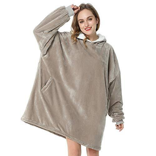 LetsFunny Oversized Hooded Blanket Sweatshirt, Super Soft Warm Comfortable Sherpa Wearable Blanket with Giant Pocket, for Adults Men Women Teenagers Kids, One Size Fits All (Grey, Adult) - PHUNUZ