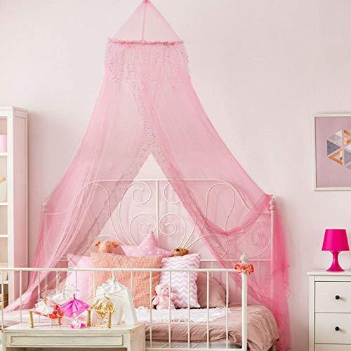 Home and More Store Princess Bed Canopy - Beautiful Silver Sequined Childrens Bed Canopy in Pink - Single Bed - PHUNUZ