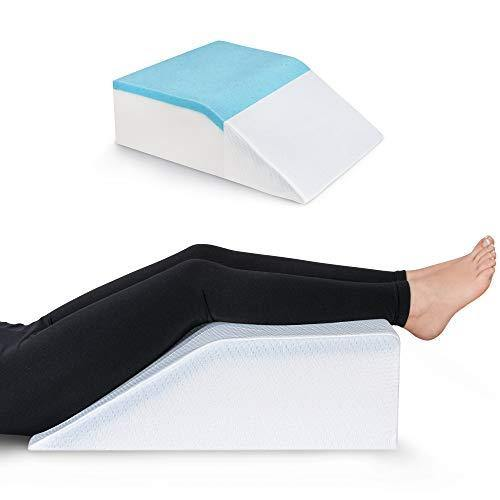Leg Elevation Pillow with Cooling Gel - Memory Foam Leg Rest - Elevating Foam Wedge- Relieves Leg Pain, Hip and Knee Pain, Improves Blood Circulation, Reduces Swelling - Breathable, Washable Cover - PHUNUZ