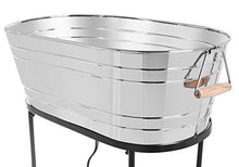 Load image into Gallery viewer, BirdRock Home Stainless Steel Beverage Tub with Stand - Oval - Bottom Tray - Party Drink Holder - Wooden Handles - Outdoor or Indoor Use - Free Standing