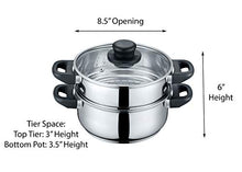 Load image into Gallery viewer, CONCORD 3 Quart Stainless Steel 3 Piece Steamer Cookware Set (INDUCTION COMPATIBLE)