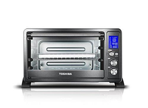 Toshiba AC25CEW-BS Digital Toaster Oven with Convection cooking and 9 Functions, 1500W, 6-Slice Bread/12-Inch Pizza, Black Stainless Steel - PHUNUZ