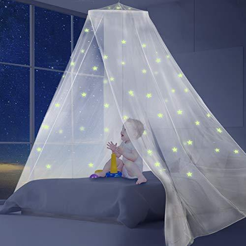 AMMER Fluorescent Stars White Bed Canopy for Baby, Kids, Boys Girls,Good Protection for Indoor and Outdoor Camping,Mesh Screen House Mosquito Net Tent for King Size Bed - PHUNUZ