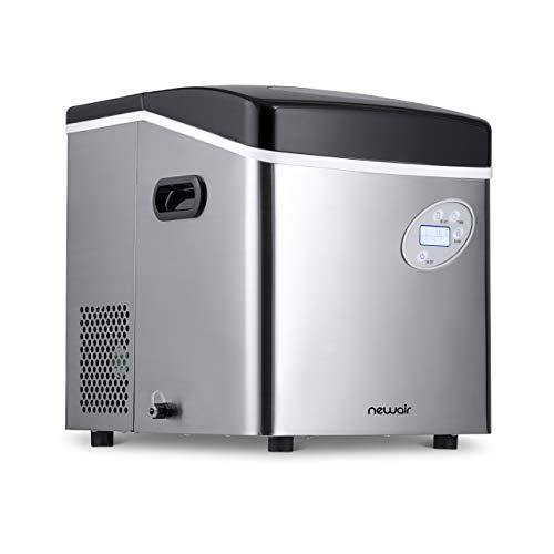 NewAir Portable Ice Maker 50 lb. Daily - Countertop Design - 3 Size Bullet Shaped Ice - AI-215SS - Stainless Steel - PHUNUZ