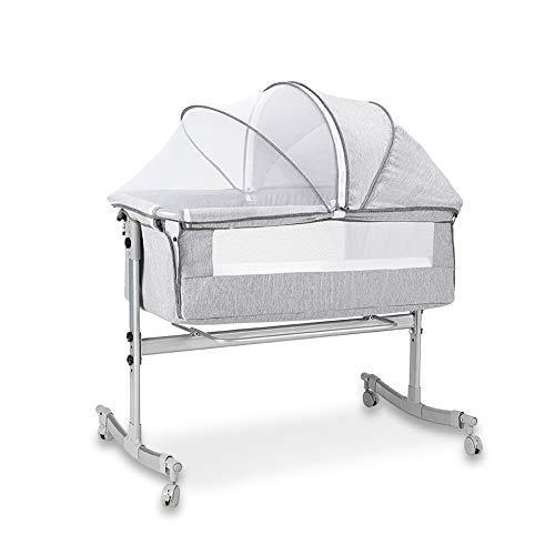 Baby Bassinet, Baby Bedside Sleeper, Newborn Baby Crib, w/Detachable & Washable Mattress, Pillow, Easy Folding Movable Cradle for Newborn Infants, Bed Height Adjustable, Breathable Mesh (Grey) - PHUNUZ