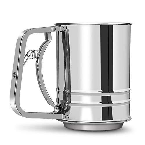 MaMix Stainless Steel Flour Sifter 3 Cup with Hand Press, Double Layers Sieve, Baking Sieve Cup - PHUNUZ