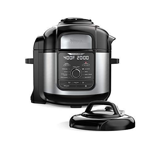 Ninja FD401 Foodi 8-Quart 9-in-1 Deluxe XL Pressure Cooker, Broil, Dehydrate, Slow Cook, Air Fryer, and More, with a Stainless Finish - PHUNUZ
