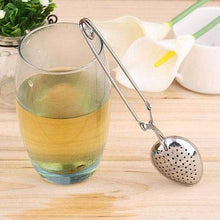 Load image into Gallery viewer, Happy Sales Long Handle Loose Leaf Snap Tea Infuser Spoon, Stainless Steel Mesh, 1.5-Inch