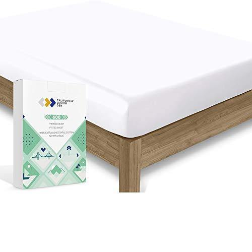 Luxury Hotel Queen Fitted Sheet, Soft Buttery 100% Cotton Sateen, No-pop Snug Fits All Mattresses, Deep Pocket Bottom Sheet - Foot Side Indicator - Pure White - PHUNUZ