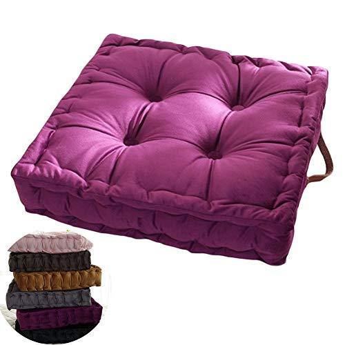 wongbey WAQIA Square Thick Floor Seating Cushions,Solid Thick Tufted Cushion Meditation Pillow Square Floor Pillow Seating with Carrying Handle,Sofa Balcony Tatami Pad (Purple) - PHUNUZ