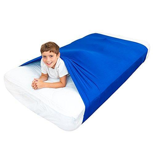 Special Supplies Sensory Bed Sheet for Kids Compression Alternative to Weighted Blankets - Breathable, Stretchy - Cool, Comfortable Sleeping Bedding (Blue, Twin) - PHUNUZ