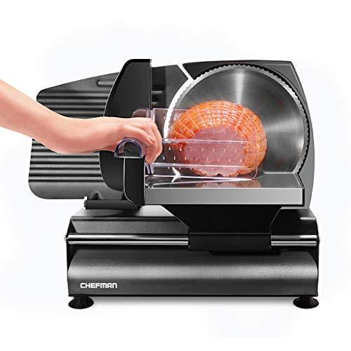 Chefman Die-Cast Electric Deli & Food Slicer Cuts Meat, Cheese, Bread, Fruit & Vegetables, Adjustable Slice Thickness, Stainless Steel Blade, Safe Non-Slip Feet, For Home Use, Easy To Clean, Black - PHUNUZ
