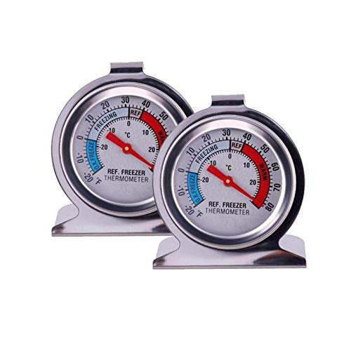 2 Pack JSDOIN Freezer Refrigerator Refrigerator Thermometers Large Dial Thermometer (2 Pack)