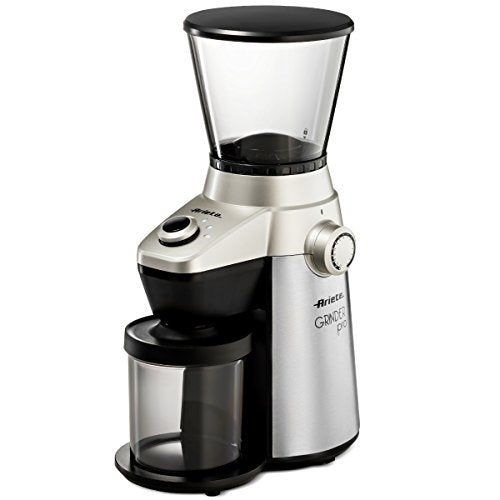Ariete Conical Burr Electric Coffee Grinder - Professional Heavy Duty Stainless Steel | Ultra Fine Grind with Adjustable Cup Size | 15 Fine - Coarse Grind Size Settings