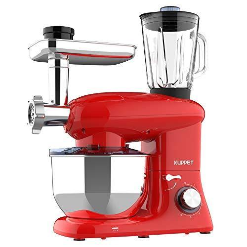 KUPPET 3 in 1 Stand Mixer, 6 Speed Electric Mixer, Tilt Head Kitchen Mixer with Meat Grinder and Juice Blender, 6 Quarts 850W Food Mixer - Red - PHUNUZ