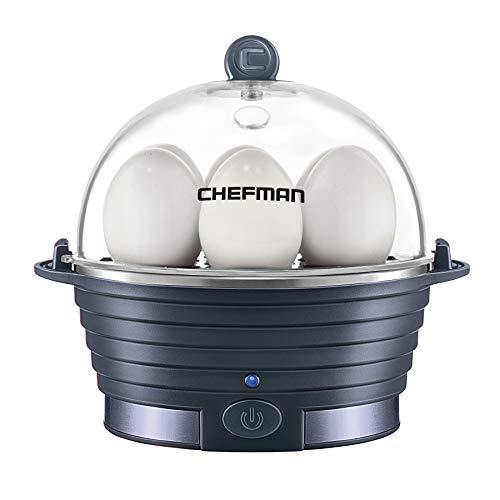 Chefman Electric Egg Cooker Boiler, Rapid Poacher, Food & Vegetable Steamer Quickly Makes Up To 6, Hard, Medium or Soft Boiled, Poaching/Omelet Tray Included, Ready Signal, BPA-Free, Midnight Blue - PHUNUZ