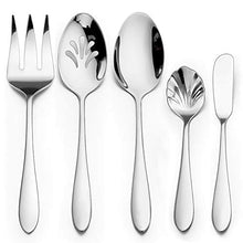 Load image into Gallery viewer, 5-Piece Serving Utensil Set, HaWare Stainless Steel Hostess Set with Spoon Fork, Modern and Elegant, Mirrored Finish and Dishwasher Safe