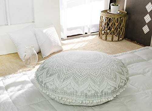 Popular Handicrafts Large Hippie Mandala Floor Pillow Cover - Cushion Cover - Ombre Pouf Cover Round Bohemian Yoga Decor Floor Cushion Case- 32