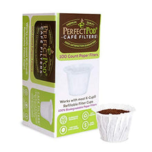 Load image into Gallery viewer, Cafe Filters Paper Liners for Reusable K Cup Coffee Pods by Perfect Pod | Fits All Brands, Compatible With All Refillable Capsules - Disposable Paper Filters (100-Ct)