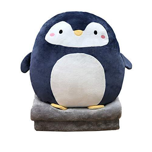 Hofun4U Soft Penguin Plush Hugging Pillow 16 Inch, Cute Anime Throw Pillow Stuffed Animal Doll Toy with Coral Fleece Blanket, Girls Boys Gifts for Birthday, Valentine, Christmas, Travel, Holiday - PHUNUZ