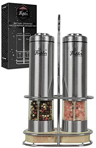 Electric Salt and Pepper Grinder Set - Battery Operated Stainless Steel Salt&Pepper Mills(2) by Flafster Kitchen -Tall Power Shakers with Stand - Ceramic Grinders with lights and Adjustable Coarseness - PHUNUZ