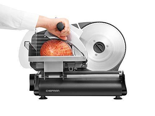 Chefman Electric Deli & Food Slicer Die-Cast Cuts Meat, Cheese, Bread, Fruit & Vegetables, Adjustable Slice Thickness, Stainless Steel Blade, Safe Non-Slip Feet, For Home Use, Easy To Clean - PHUNUZ