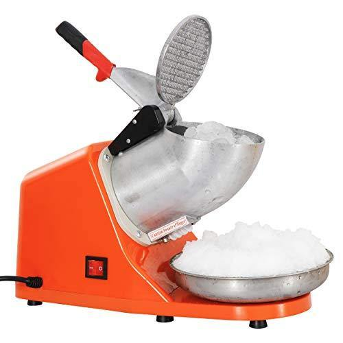 ZENY Ice Crushers Machine Electric Snow Cone Maker Stainless Steel Shaved Ice Machine 145lbs Per Hour (Orange) - PHUNUZ